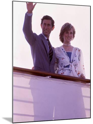 Prince Charles and Princess Diana Standing Together on Board Ship to Start Their Honeymoon--Mounted Photographic Print