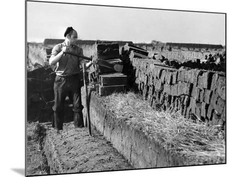 Peat Cutting, March 1954--Mounted Photographic Print