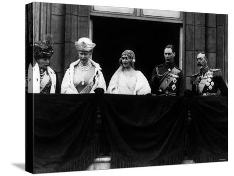 Duke of York on Royal Balcony Buckingham Palace with Bride Lady Elizabeth Bowes Lyon at Wedding--Stretched Canvas Print