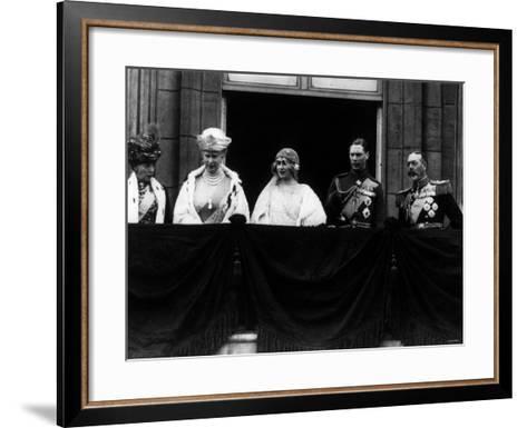Duke of York on Royal Balcony Buckingham Palace with Bride Lady Elizabeth Bowes Lyon at Wedding--Framed Art Print