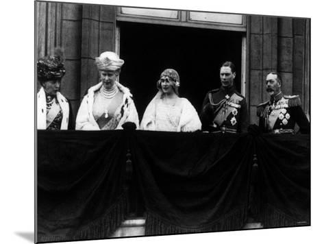 Duke of York on Royal Balcony Buckingham Palace with Bride Lady Elizabeth Bowes Lyon at Wedding--Mounted Photographic Print