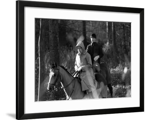 Queen Elizabeth II Out Riding with Prince Edward on New Year's Day 1980--Framed Art Print