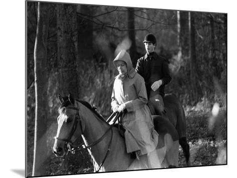 Queen Elizabeth II Out Riding with Prince Edward on New Year's Day 1980--Mounted Photographic Print