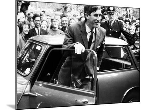 Prince Charles at Cambridge University Steps from His Mini Car on Arriving at Trinity College--Mounted Photographic Print