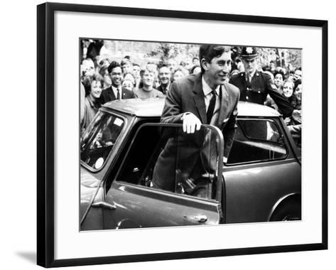 Prince Charles at Cambridge University Steps from His Mini Car on Arriving at Trinity College--Framed Art Print