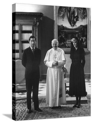 Pope John Paul II Meets with Prince Charles and Princess Diana in the Vatican--Stretched Canvas Print