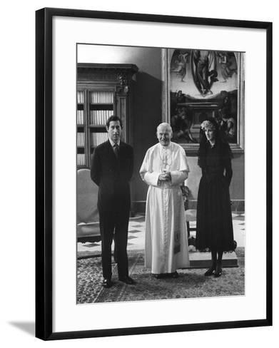 Pope John Paul II Meets with Prince Charles and Princess Diana in the Vatican--Framed Art Print