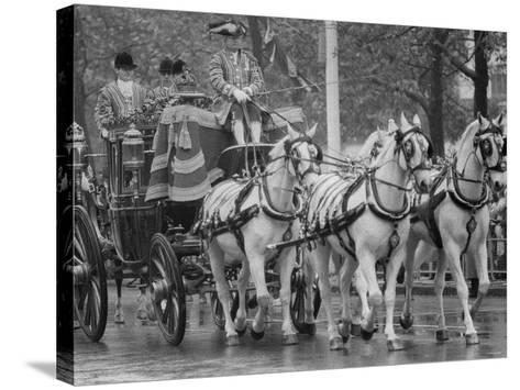 State Opening of Parliament Queen Elizabeth and Duke of Edinburgh Travell in the State Coach--Stretched Canvas Print