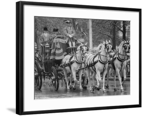 State Opening of Parliament Queen Elizabeth and Duke of Edinburgh Travell in the State Coach--Framed Art Print