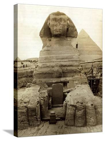 The Great Sphinx Guarding the Pyramids Egypt Statue, c.1910--Stretched Canvas Print