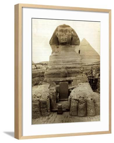 The Great Sphinx Guarding the Pyramids Egypt Statue, c.1910--Framed Art Print
