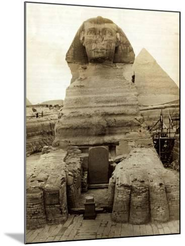 The Great Sphinx Guarding the Pyramids Egypt Statue, c.1910--Mounted Photographic Print