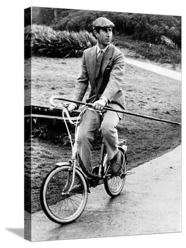 Prince Charles Riding Bike November 1983--Stretched Canvas Print