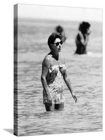 Princess Margaret on Holiday in Mustique Roddy Llewellyn is Staying on the Same Island--Stretched Canvas Print