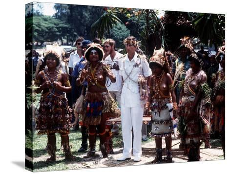 Prince Charles in Papua New Guinea Crowned 10th Lapan of Manus August 1984--Stretched Canvas Print