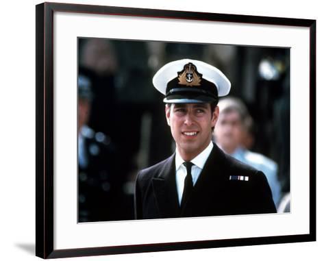 Prince Andrew in Naval Uniform Returns from Falklands 1982 at Portsmouth Docks on Hms Invincible--Framed Art Print