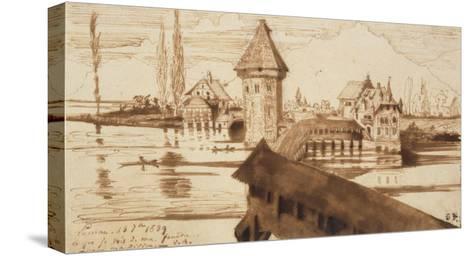 Lucerne, Chapel Bridge-Victor Hugo-Stretched Canvas Print