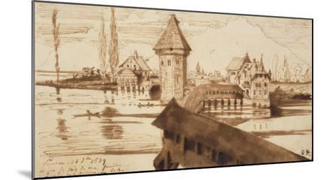 Lucerne, Chapel Bridge-Victor Hugo-Mounted Giclee Print