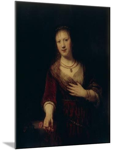 Saskia With a Red Flower-Rembrandt van Rijn-Mounted Giclee Print