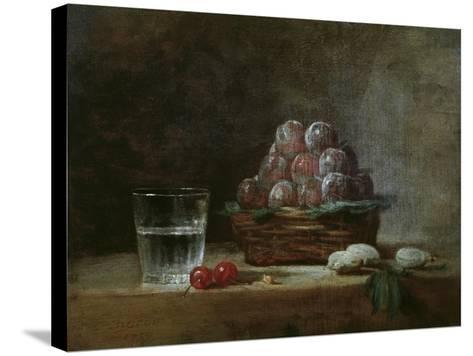 Basket of Plums-Jean-Baptiste Simeon Chardin-Stretched Canvas Print