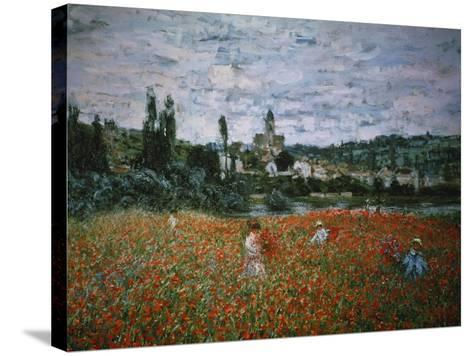Poppy Field Near Vetheuil-Claude Monet-Stretched Canvas Print