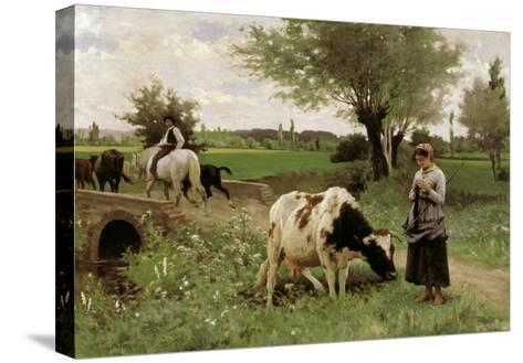 A Well-Guarded Cow-Edouard Debat-Ponsan-Stretched Canvas Print