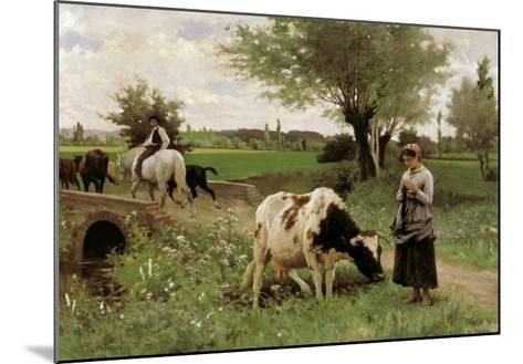 A Well-Guarded Cow-Edouard Debat-Ponsan-Mounted Giclee Print
