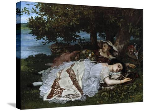 Ladies on a River Bank-Gustave Courbet-Stretched Canvas Print