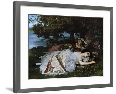 Ladies on a River Bank-Gustave Courbet-Framed Art Print