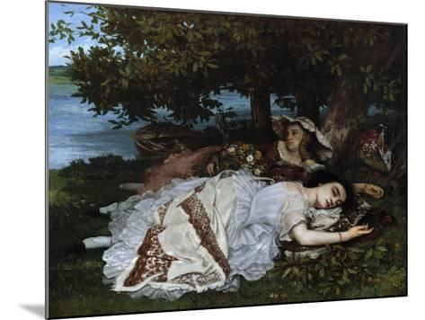 Ladies on a River Bank-Gustave Courbet-Mounted Giclee Print