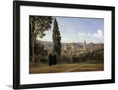 View of Florence-Jean-Baptiste-Camille Corot-Framed Art Print