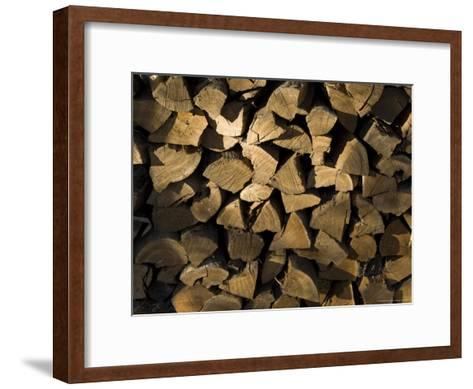 Close Up of a Pile of Firewood-Todd Gipstein-Framed Art Print