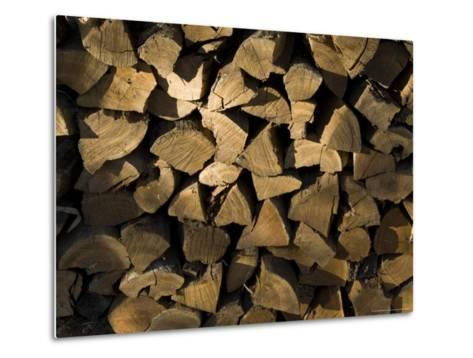 Close Up of a Pile of Firewood-Todd Gipstein-Metal Print