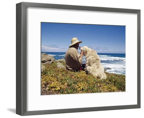 Man and His Italian Sheep Dog Sit Overlooking the Ocean-Jason Edwards-Framed Art Print