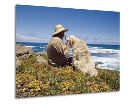 Man and His Italian Sheep Dog Sit Overlooking the Ocean-Jason Edwards-Metal Print
