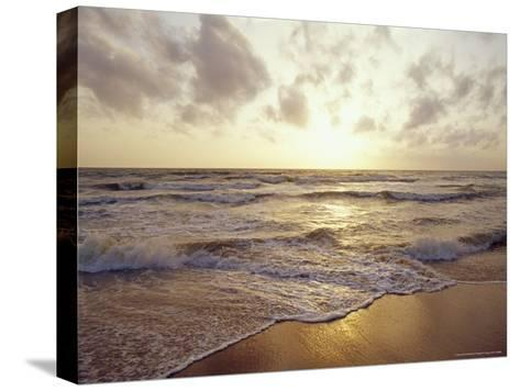 Warm Seas and Waves Roll onto a Tropical Island Beach at Sunset-Jason Edwards-Stretched Canvas Print