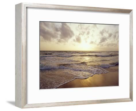 Warm Seas and Waves Roll onto a Tropical Island Beach at Sunset-Jason Edwards-Framed Art Print