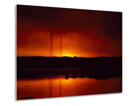 Silhouetted Power Lines at Sunrise Near a Calm Waterway-Heather Perry-Metal Print