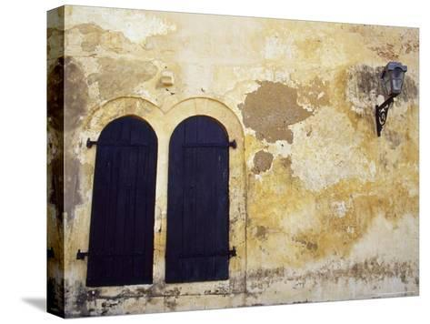 Paint Peeling Off an Antique Wall and Shuttered Windows and a Lantern-Jason Edwards-Stretched Canvas Print