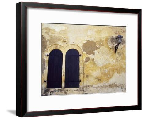 Paint Peeling Off an Antique Wall and Shuttered Windows and a Lantern-Jason Edwards-Framed Art Print