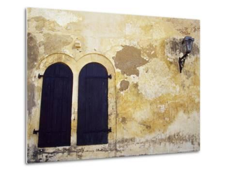 Paint Peeling Off an Antique Wall and Shuttered Windows and a Lantern-Jason Edwards-Metal Print