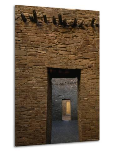 Doorway and Walls Inside Pueblo Bonito-Bill Hatcher-Metal Print
