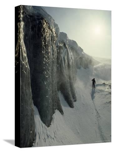 Skier on a Frozen Fjord Beneath Ice Cliffs of Nordenskjold Glacier-Gordon Wiltsie-Stretched Canvas Print