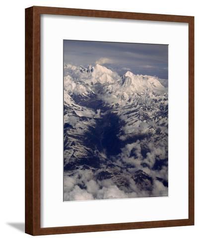 View of Mount Everest Massif and Makalu, Above the Barun River-Gordon Wiltsie-Framed Art Print