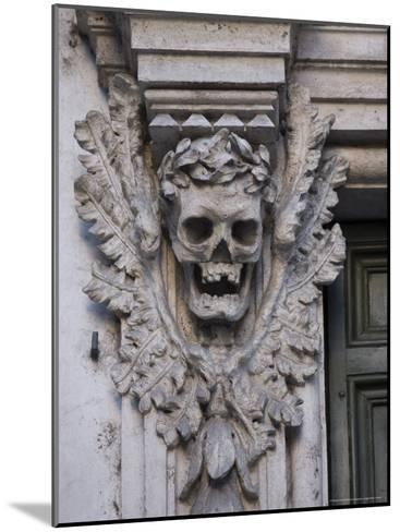 Stone Carving of a Laurel Leaf Encircled Human Skull on a Pilaster-Stephen Alvarez-Mounted Photographic Print