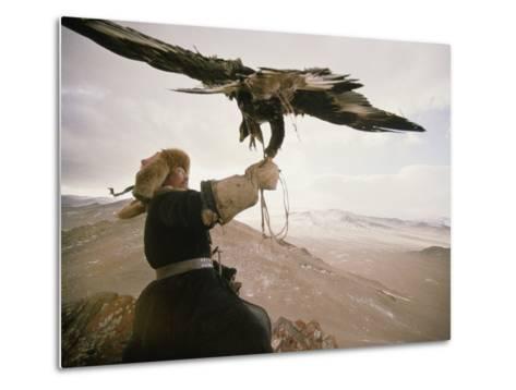 Kazakh Hunter Strains to Support a Golden Eagle-David Edwards-Metal Print
