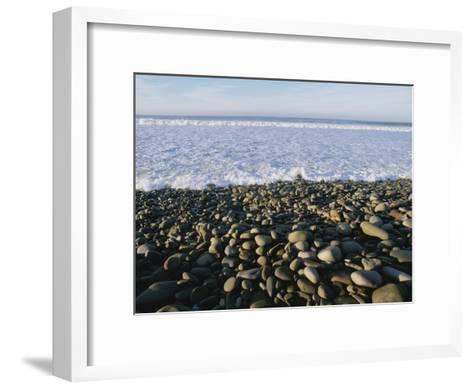 Whitewater From Crashing Waves Washes onto a Pebble Beach-Rich Reid-Framed Art Print