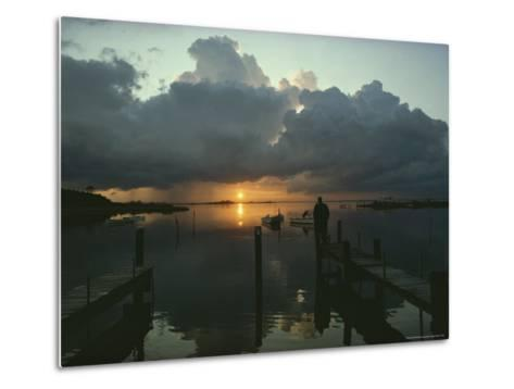 Small Fishing Boats Return to Dock as Clouds Gather at Sunset-Skip Brown-Metal Print