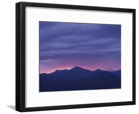 The Setting Sun Drops Behind the Adirondack's Mount Marcy-Michael Melford-Framed Art Print