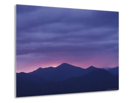 The Setting Sun Drops Behind the Adirondack's Mount Marcy-Michael Melford-Metal Print